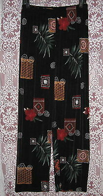 NEW CHICO'S TRAVELERS BLACK TROPICAL ARTSY PRINT SLINKY PANTS SIZE 1