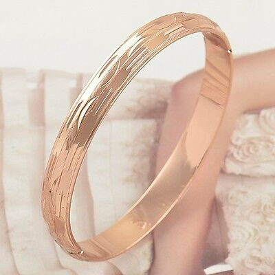 Trendy 58MM 9K ROSE GOLD FILLED WOMENS BANGLE BRACELET,F2605