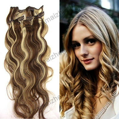 Hot 20'' 7pcs 70g #6/613 Women Clip in/on Remy Human Hair Extensions Curly Wavy