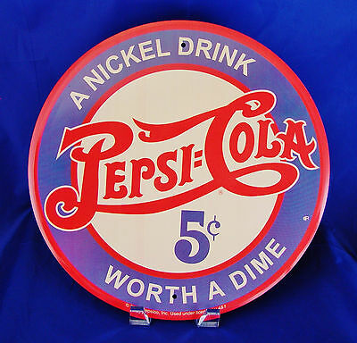 Pepsi Cola A Nickel Drink Worth Dime Round Metal Tin Sign Soda Pop Vintage Style