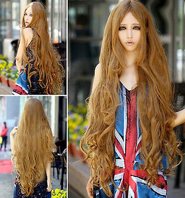 Fashion 100cm Brown Long Women's Lady Curly Wavy Hair Full Wigs Lolita Cosplay