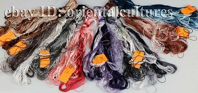 Chinese 100%real natural silk,hand-dyed embroidery floss/thread 60colors/skeins