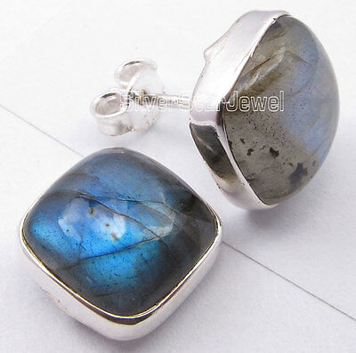 925 Sterling Silver BLUE FLASH LABRADORITE Cushion MODERN Studs Earrings 1.2 CM