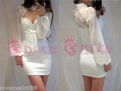 New Womens Causal party Deep V Lace Mesh See Through open back mini dress LARGE