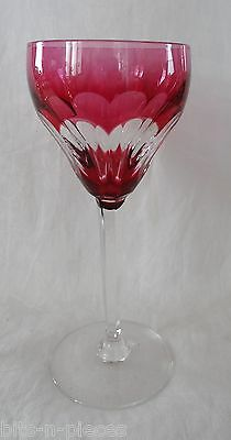 VAL ST LAMBERT Crystal Cut to Clear White WINE glass TILLY Cranberry