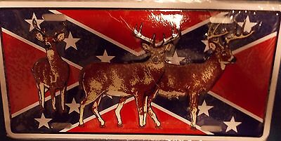 WHOLESALE LOT OF 6 DEER AND CONFEDERATE FLAG LICENSE PLATES