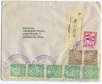 Paraguay to Germany 1957 Registered Airmail cover – a-157