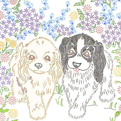 Vintage Embroidery Pattern ~ Puppy Dogs Wall Hanging Picture Cocker Spaniels