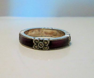 Signed Judith Jack Sterling Silver Eternity Ring Band Marcasite Purple Enamel s6