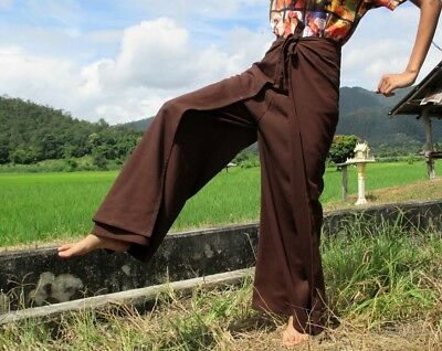Chenamai Cotton Drive In Wrap Pants Great For Everyday Casual Dark Brown sz M