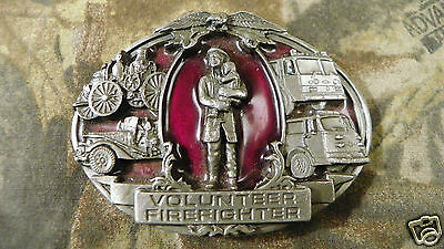 Vintage 1992 Volunteer Firefighter Pewter Belt Buckle - Bergamot - EMT Paramedic