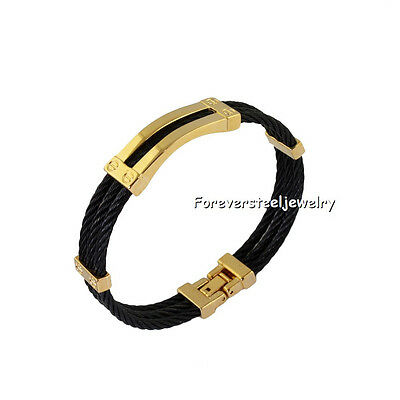 316L Stainless Steel Cool Mens Round Bracelet Silver&Black&Gold Tone Bangle