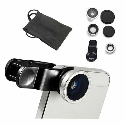 Universal Clip 3in1 Fish eye Macro Wide Angle Lens For Samsung iPhone 6 5S LG