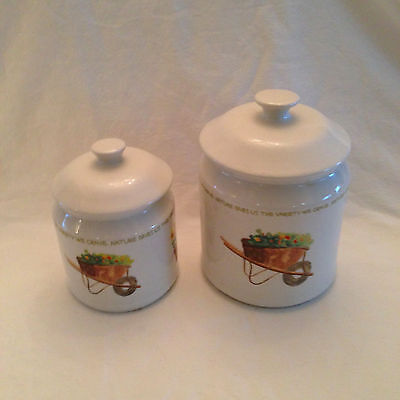 Thomson Pottery ~ Nature Gives us the Variety We Crave~ 2 Canisters w/ Lids EUC