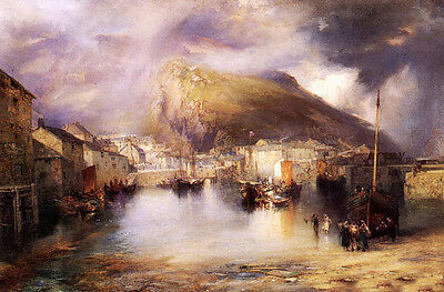 Oil Thomas Moran - An English Fishing Village, Polperro, Cornwall nice landcape