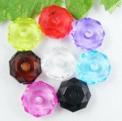 200Pcs Mixed Acrylic Spacer Beads Findings 8x5mm