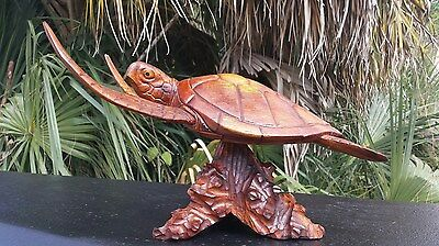 GORGEOUS LARGE HANDCARVED MAHOGANY WOOD TURTLE ON BASE W/ DETACHABLE WINGS!