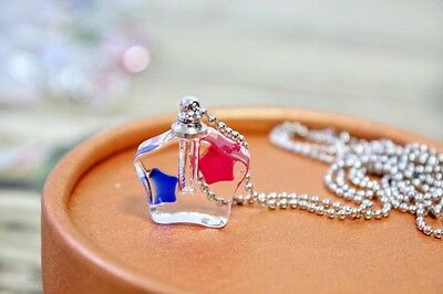 1PC. Square set pendant Murano Glass perfume bottle Screw cap NECKLACE L533