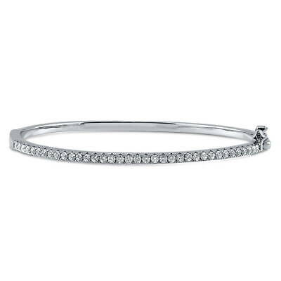 BERRICLE Sterling Silver Bangle Bracelet Made with Swarovski Zirconia