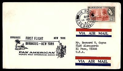Barbados to New York 1957 Pan American First flight cover