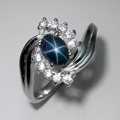 Big Sale! Natural Blue Star Sapphire Sterling 925 Silver Ring Size 8/R5459
