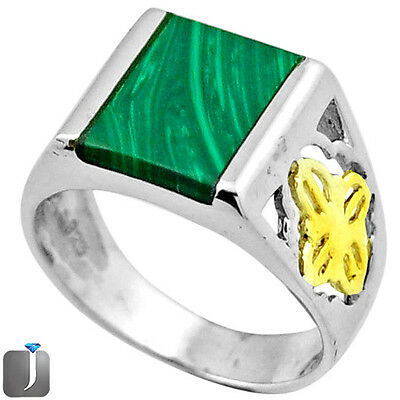 4.63cts NATURAL GREEN MALACHITE 925 SILVER TWO TONE MENS RING SIZE 8 F33040