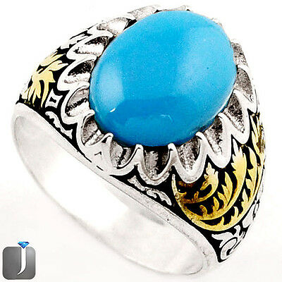 6.37cts SLEEPING BEAUTY TURQUOISE 925 SILVER TWO TONE MENS RING SIZE 11 F33789