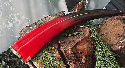 Ornate Show Decorative Viking Drinking Red Horn Buffalo Horn