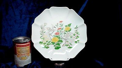 Porcelain Dish (Likely) ~ANDREA BY SADEK~ C 1970s-1980s ~HERONS IN BLOSSOMS~