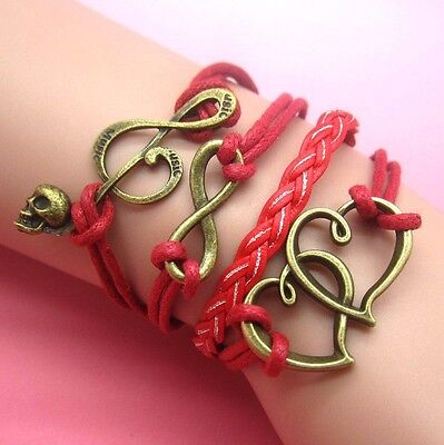NEW Hot Infinity Love Anchor Leather Cute Charm Bracelet plated Silver DIY XL64