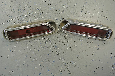 1970-71 Challenger 2 Rear Side Marker Chrome Bezels & Housing w/ Red Lense OEM