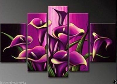 5 Piece together Modern Abstract WALL DECOR Art Oil Painting Flower art No frame