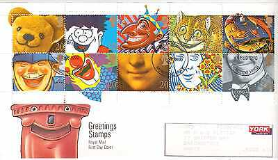 GREAT BRITAIN 1990 GREETINGS STAMPS SMILES 20p BOOKLET PANE FIRST DAY COVER