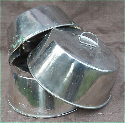 Set of 3 Food Meat Warming Domes Cover Lid Nickel Plated Berndorf Austria 1950