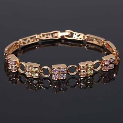 Color crystal 18k Yellow gold filled Elegant Special jewelry Charm Bracele TB284