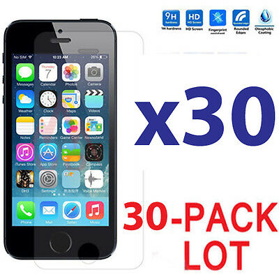 30x Wholesale Lot Tempered Glass Screen Protector for Apple iPhone 5/5C/5S