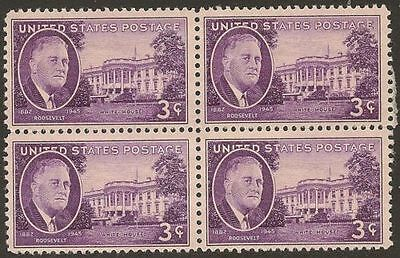 Vintage U.S. Mint NH Blk of 4 - 03c Roosevelt and the White House  #932