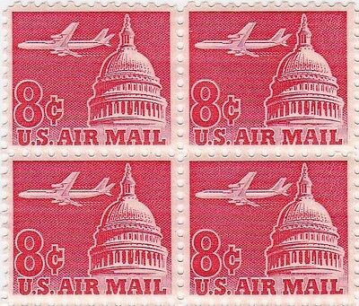 Old U.S. Mint NH Blk of 4  - 08c Jetliner Over Capitol #C64 Air mail