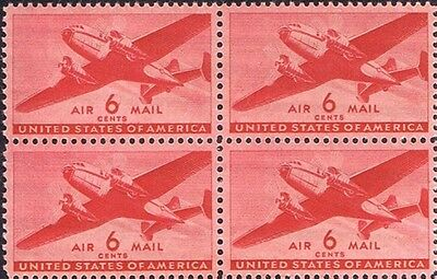 Old U.S. Mint NH Blk of 4  - 06c Twin-Motor Transport Plane  #C25 Air mail