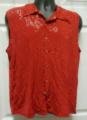 NWT Faux Sequin Spandex Sleeveless Snap Front Shirt FOUR COLORS Men's/Child Szs