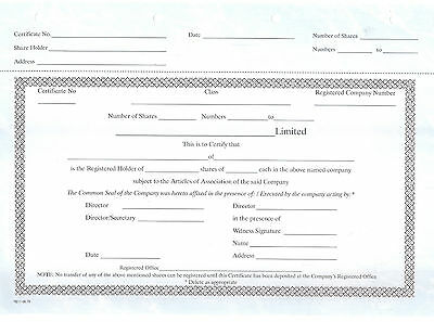 Blank share certificates for UK limited companies