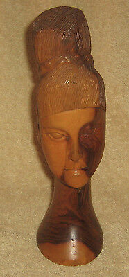 CARVED WOOD HEAD BUST STATUE