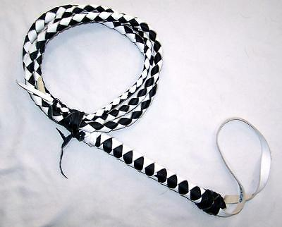 DELUXE 8 FOOT MEXICO HEAVY DUTY BLACK & WHITE REAL LEATHER BULL WHIP bullwhip