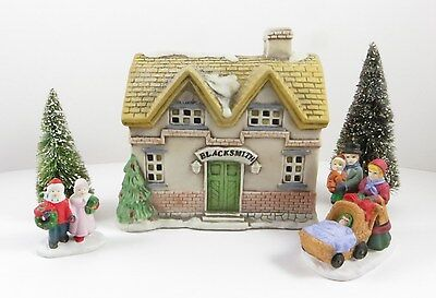 Christmas Village BLACKSMITH SHOP Lighted House Building w/ Accessories Ceramic