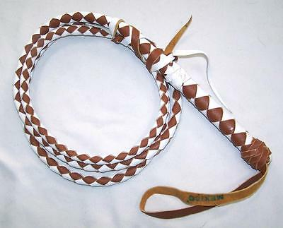 DELUXE 8 FOOT MEXICO HEAVY DUTY BROWN & WHITE REAL LEATHER BULL WHIP bullwhip