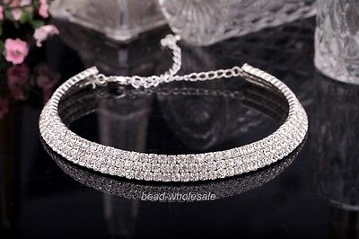 Charm 3-Row Austrian Clear Rhinestone Crystal Wedding/Bridal Choker Necklace