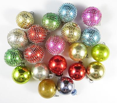 Vintage MINIATURE GLASS Christmas Tree ORNAMENTS - LOT 20 - Round Ball & Netting