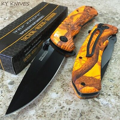 TAC FORCE Spring Assisted Open Rescue CAMO Tactical Pocket Knife TF-764OC zix