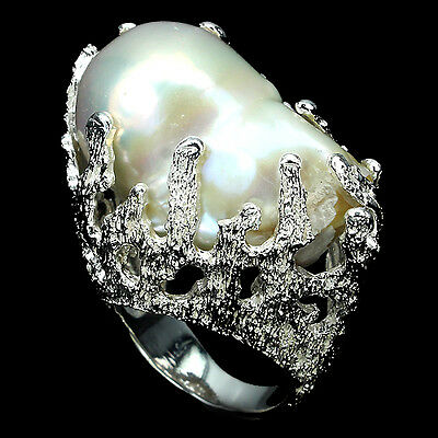VERY RARE! HUGE BAROQUE 29x17mm. NATURAL WHITE PEARL 925 SILVER CORAL RING Sz 8