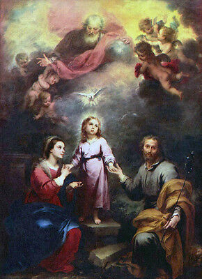 Oil Bartolome Esteban Murillo - The Two Trinities with Madonna and angels canvas